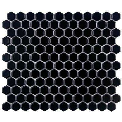 Metro Hex Matte Black 10-1/4 in. x 11-3/4 in. x 5 mm Porcelain Mosaic Tile (8.56 sq. ft. / case)