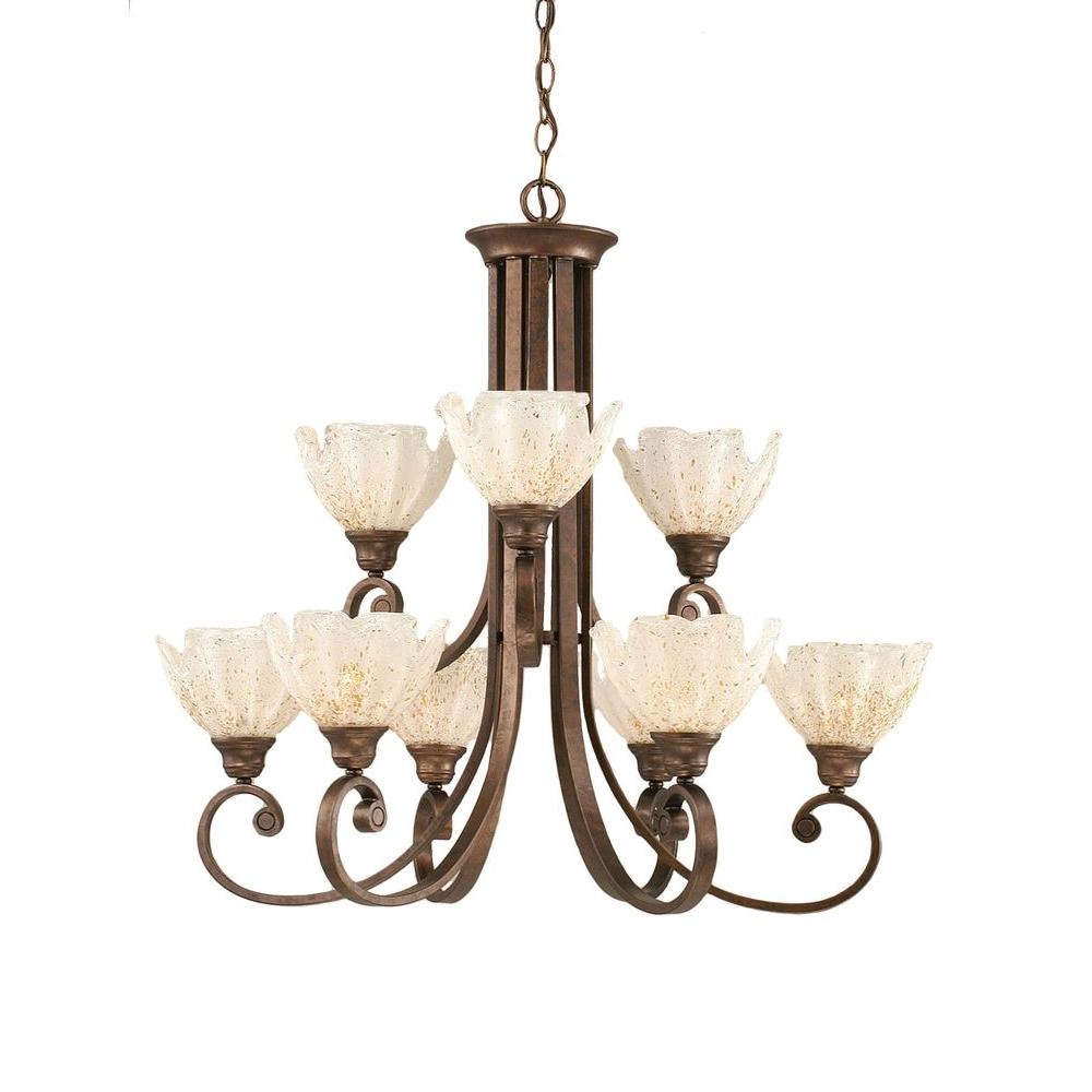 Concord 9-Light Bronze Chandelier with Gold Ice Glass