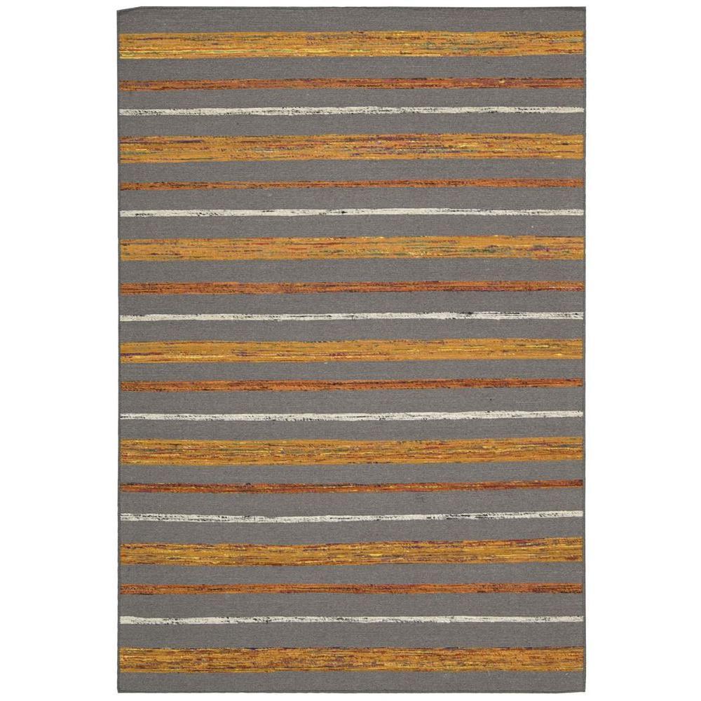 Nourison Overstock Spectrum Grey/Flame 5 ft. 3 in. x 7 ft. 5 in. Area Rug