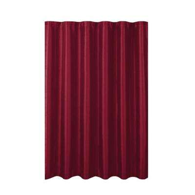Jane Faux Silk 70 in. W x 72 in. L Shower Curtain with Metal Roller Hooks in Burgundy