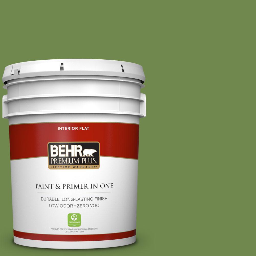 5 gal. #HDC-SM14-2 Green Suede Zero VOC Flat Interior Paint