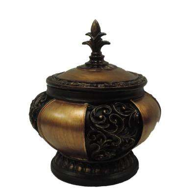 Traditional Black and Gold Lidded Decorative Box with Intricate Carvings