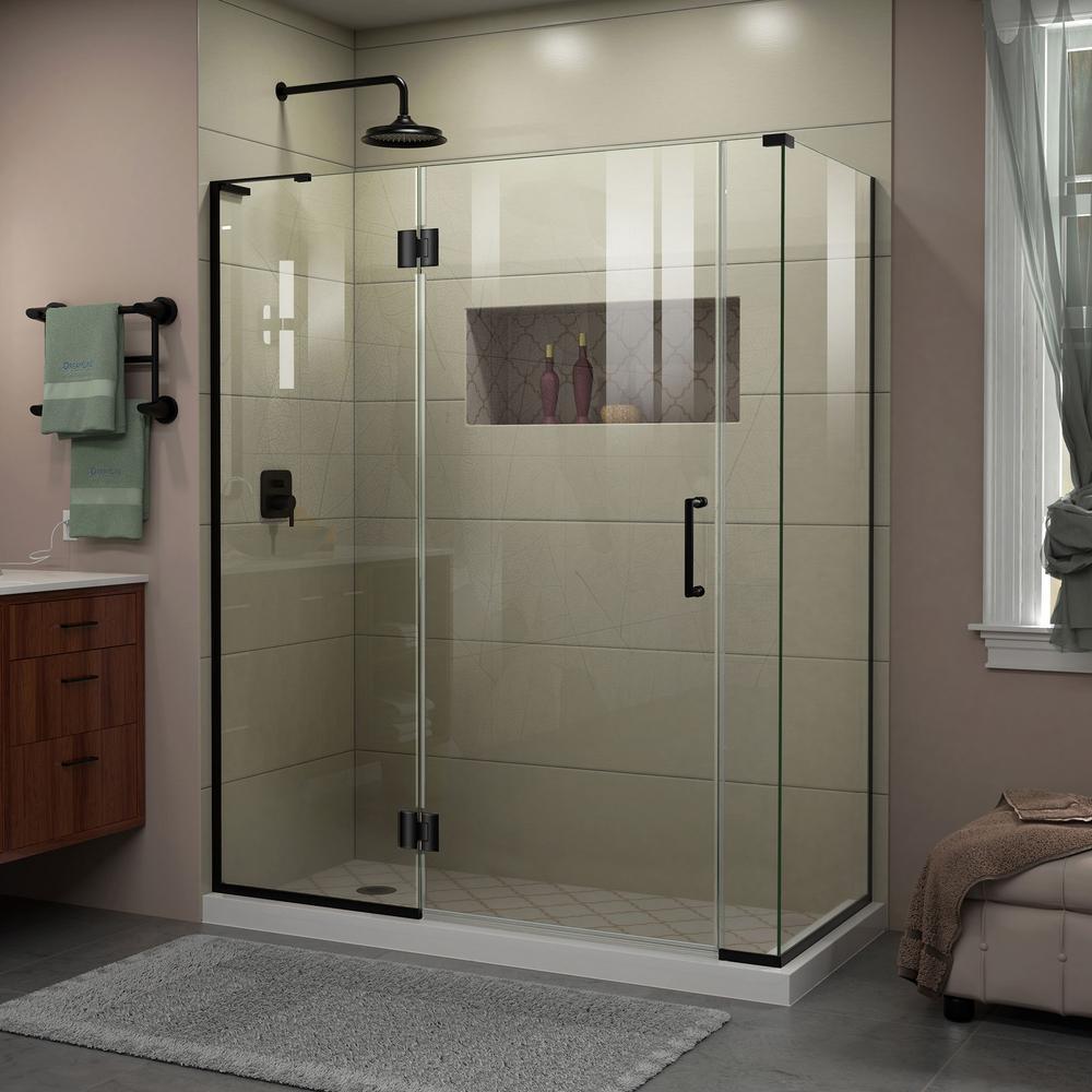 Unidoor-X 57 in. x 72 in. Frameless Corner Hinge Shower Enclosure in Satin Black