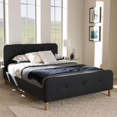 Samson Mid-Century Dark Gray Fabric Upholstered Queen Size Bed