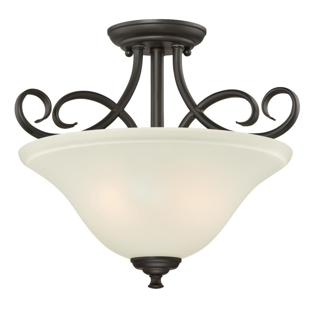 Dunmore 2-Light Oil Rubbed Bronze Semi-Flush Mount