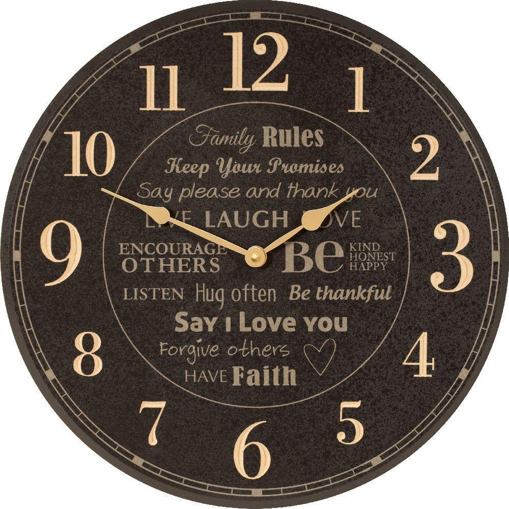 P. Graham Dunn Family Rules 17 in. Black Circular Clock