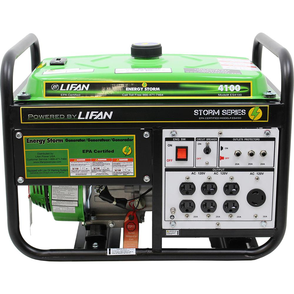 LIFAN Energy Storm 4,000/3,500-Watt Gasoline Powered Portable Generator with Extra 120-Volt Outlets