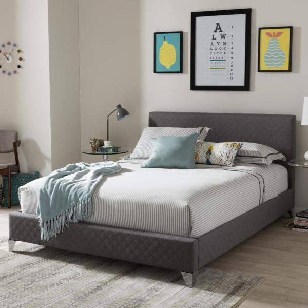Baxton Studio Harlow Gray King Upholstered Bed 28862-7113-HD