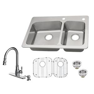 Transolid Diamond Dual Mount Stainless Steel 15 In 1 Hole Single Bowl Kitchen Sink In Brushed Dtsb151710 The Home Depot