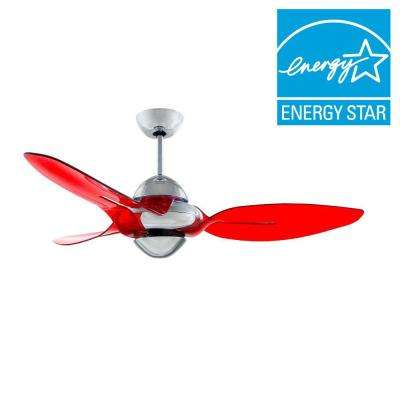 Clover 54 in. Indoor Chrome Ceiling Fan with 3 Translucent Red Blades