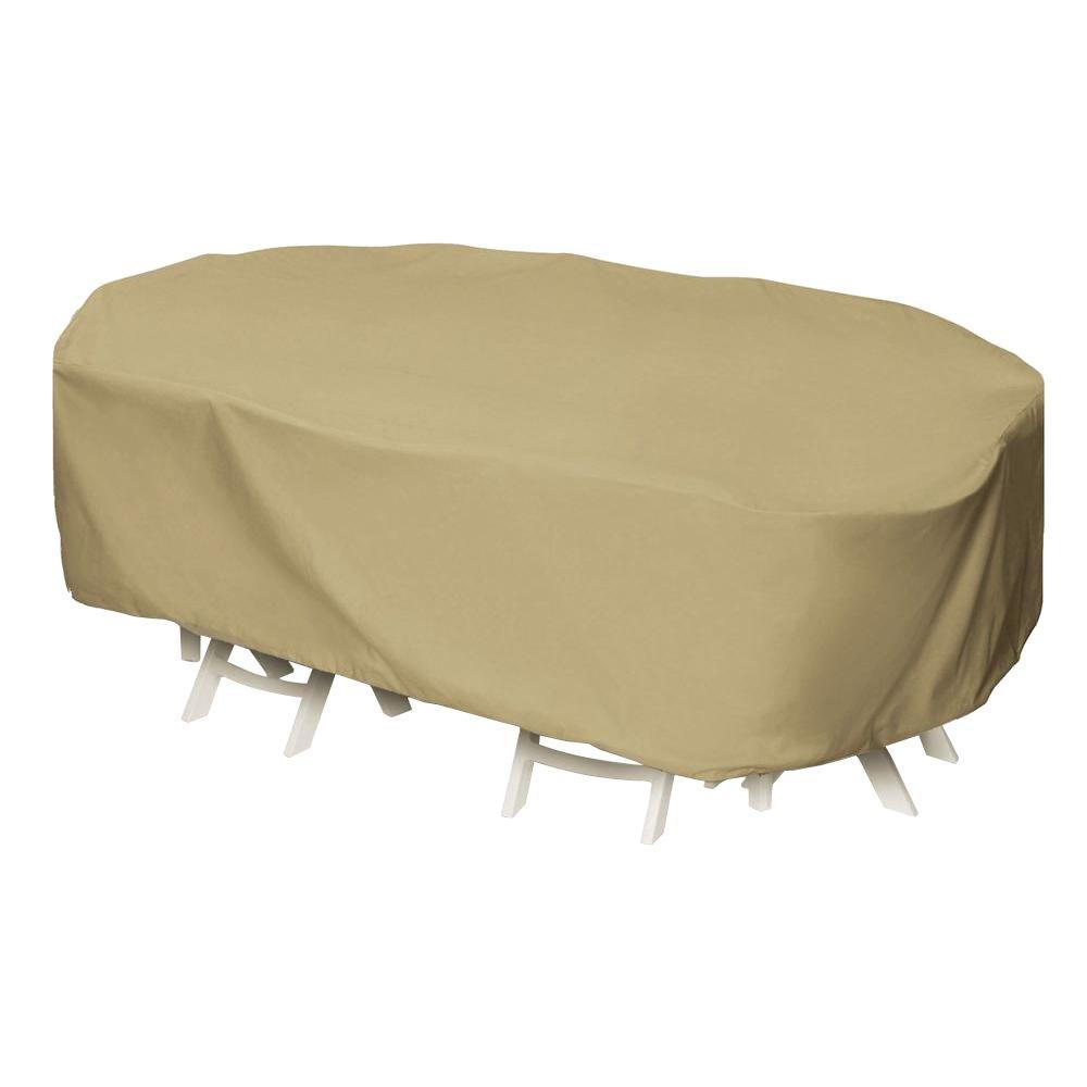 Khaki Oval Rectangular Patio Table Set Cover 2d Pf92605 The Home Depot
