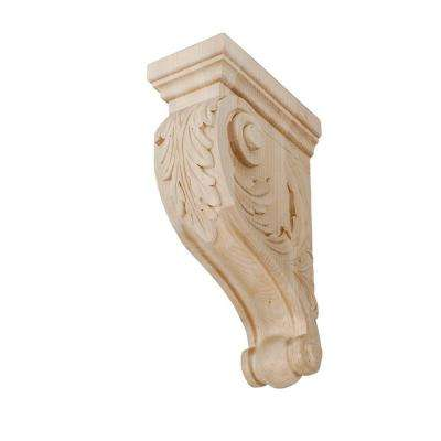 11 in. x 3-1/2 in. x 7-1/8 in. Unfinished Medium Hand Carved North American Solid Hard Maple Acanthus Leaf Wood Corbel