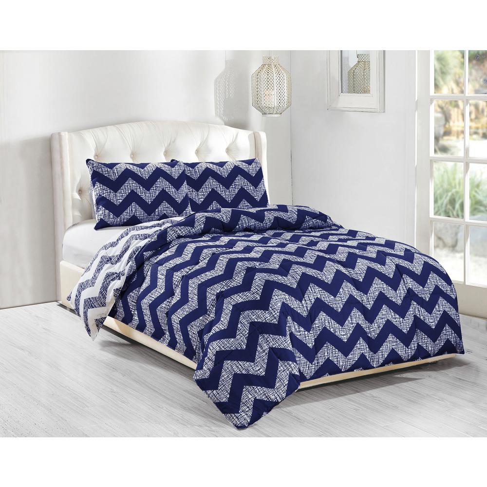 Wyatt 3-Piece Navy Full/Queen Comforter Set
