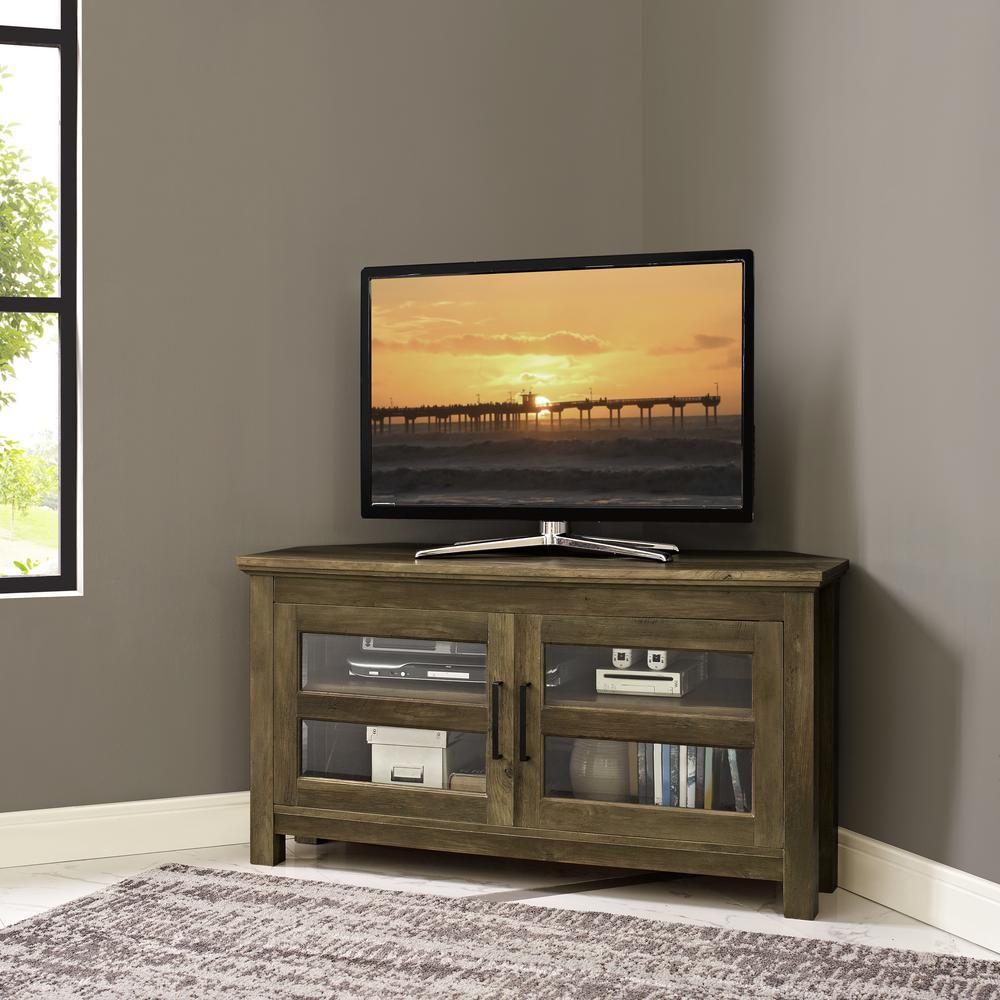44 in. Rustic Oak Corner Wood TV Console