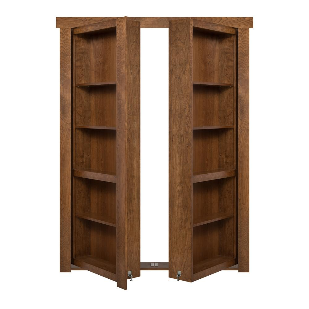 The Murphy Door 48 In X 80 In Flush Mount Assembled Cherry Medium Brown Stained Universal