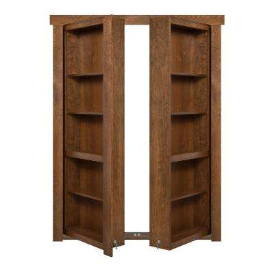 72 in. x 80 in. Flush Mount Assembled Cherry Medium Brown Stained Universal Solid Core Interior French Bookcase Door