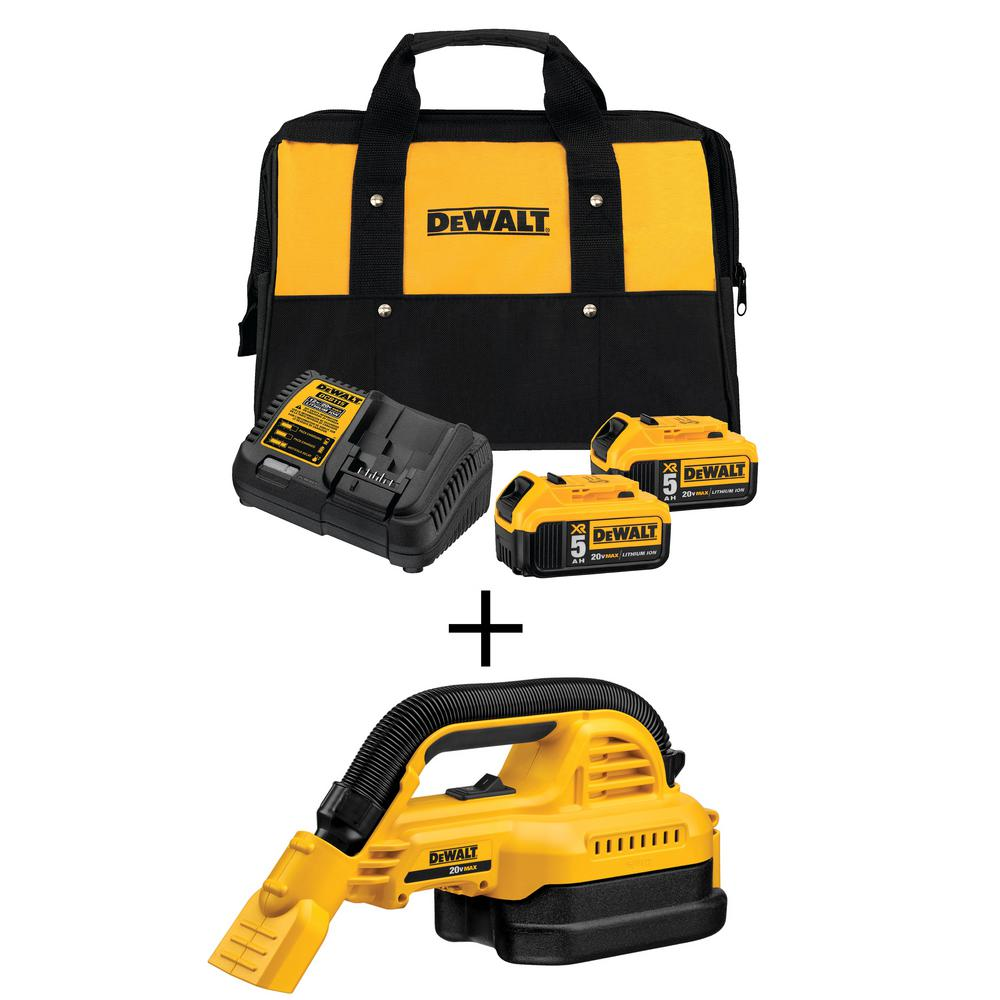 DEWALT 20-Volt 1/2 Gal  MAX Lithium-Ion Wet/Dry Portable Vacuum with  Premium Battery Pack 5 0 Ah (2-Pack), Charger and Kit Bag