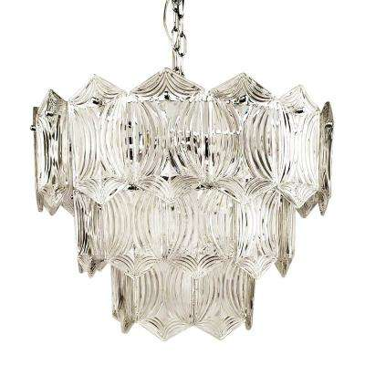Victoria 5-Light Chrome Chandelier with Tiered Glass Shade