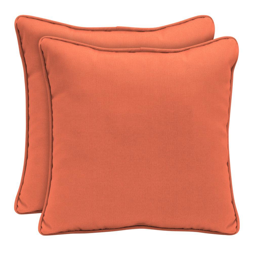 Sunbrella Canvas Melon Square Outdoor Throw Pillow (2-Pack)