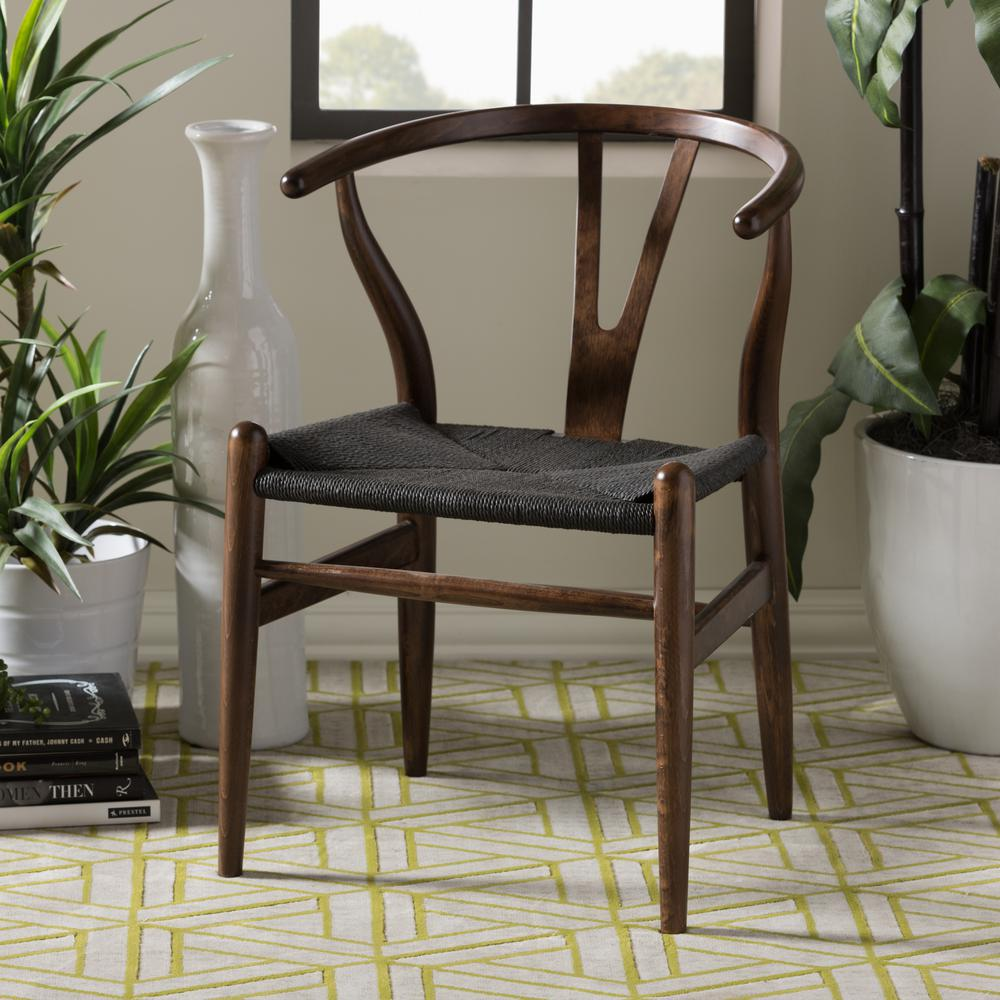 Baxton Studio Wishbone Mid-Century 2-Piece Dark Brown and Black Wood Chair Set & Baxton Studio Wishbone Mid-Century 2-Piece Dark Brown and Black Wood ...
