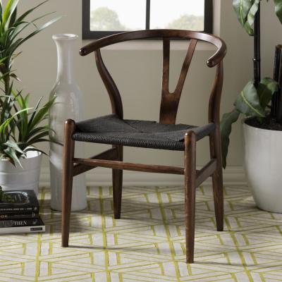 Wishbone Mid-Century 2-Piece Dark Brown and Black Wood Chair Set