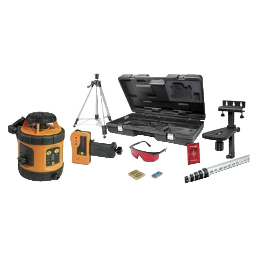 Johnson Self-Leveling Rotary Laser Kit 800 ft. Range Indoor/Outdoor with Tripod, Grade Rod, Detector, Mount, Glasses, Case