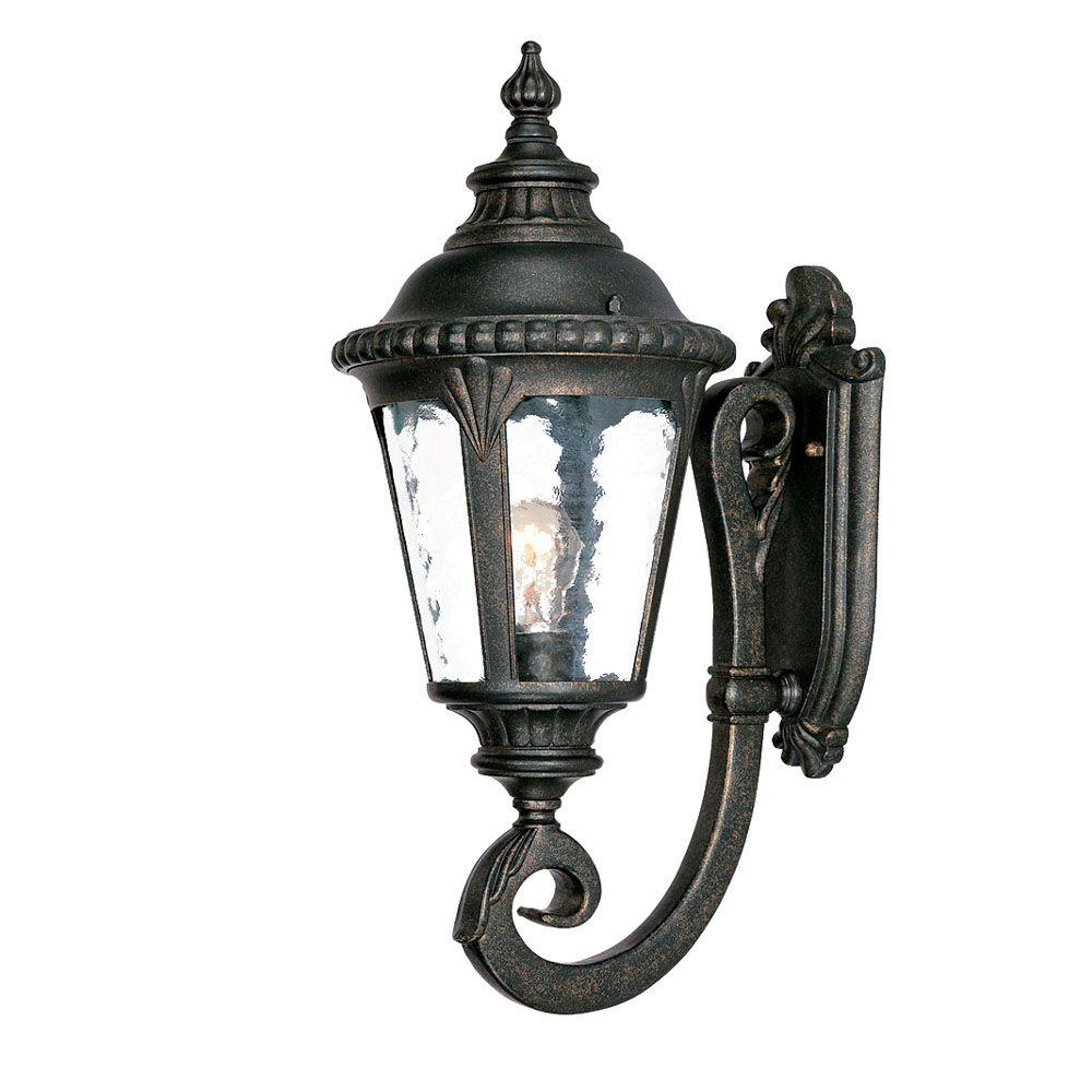 Surrey Collection Wall-Mount 1-Light Outdoor Black Gold Light Fixture