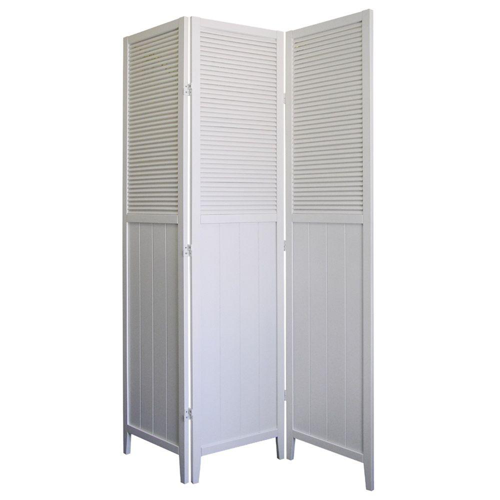 Ft white 3 panel room divider r5420 the home depot for Photo screen room dividers