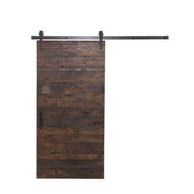 36 in. x 84 in. Rustica Reclaimed Wood Barn Door with Arrow Sliding Door Hardware Kit