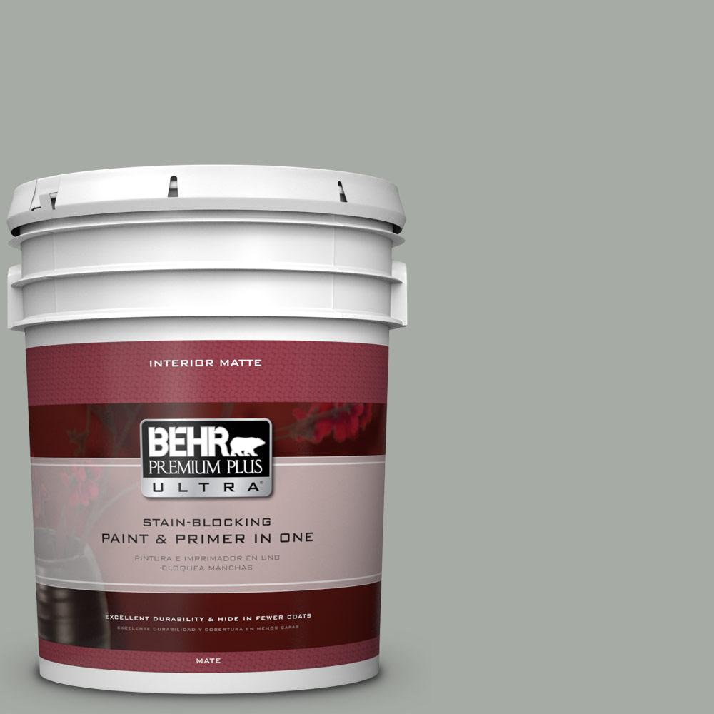 BEHR Premium Plus Ultra 5 gal. #ECC-35-1 Silver Clouds Matte Interior Paint and Primer in One