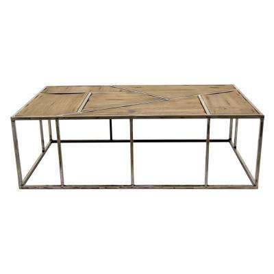 43.25 in. x 25.5 in. Brown Metal/Wood Coffee Table