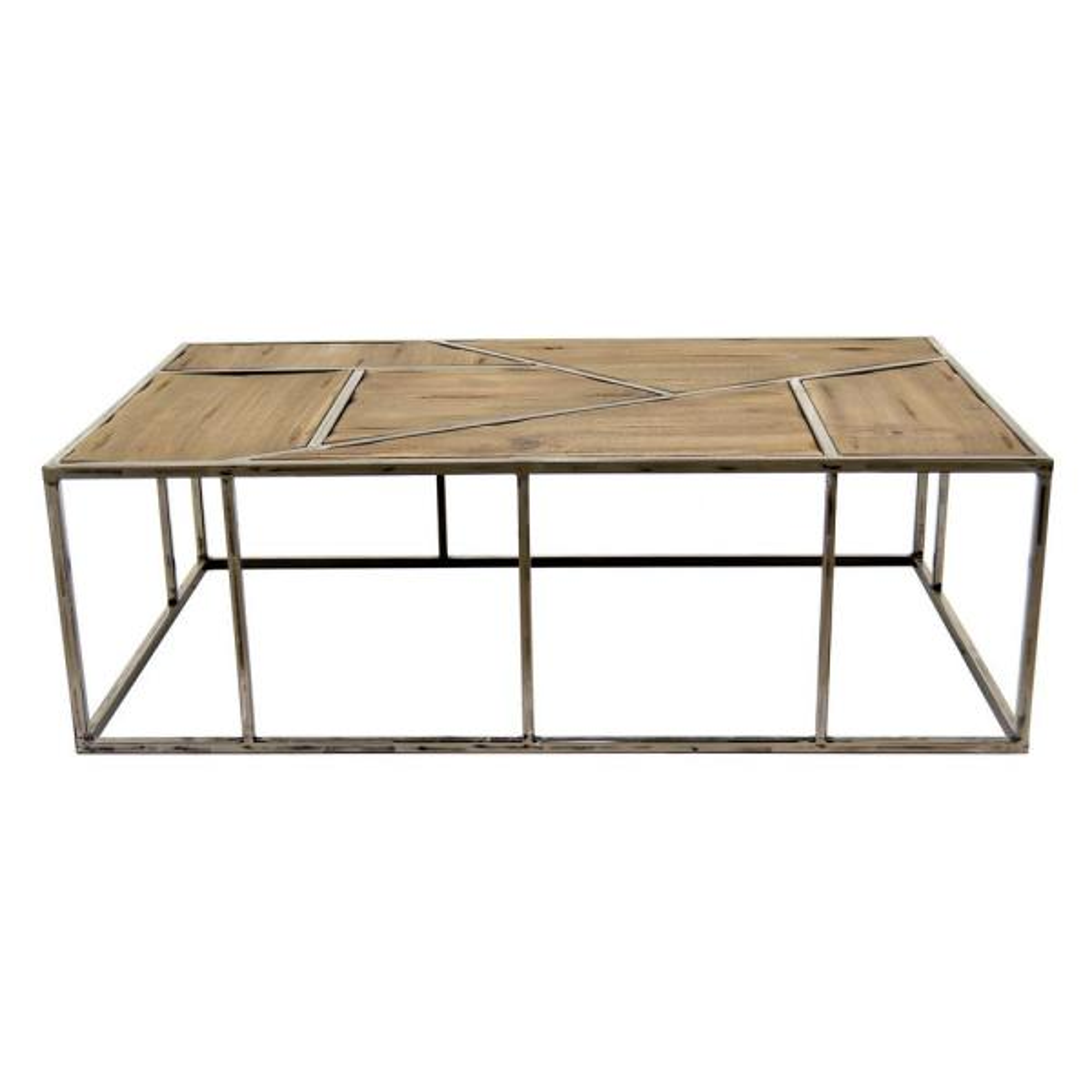 THREE HANDS 43.25 in. x 25.5 in. Brown Metal/Wood Coffee Table