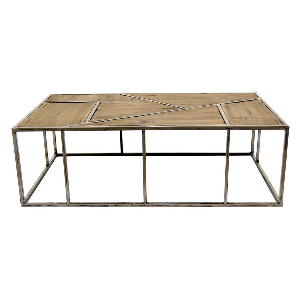 43.25 in. x 25.5 in. Brown Metal/Wood Coffee Table