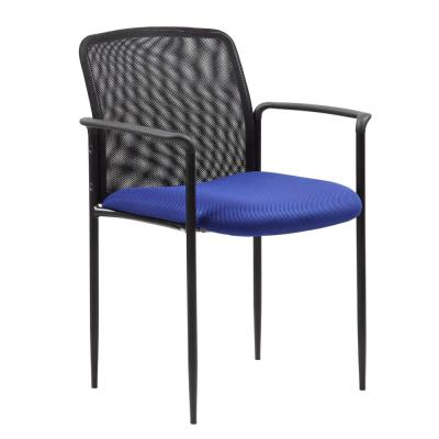 Mesh Back  Guest Chair - Blue fabric Seat - Black Powder Coated Tubular Steel frame - by BOSS