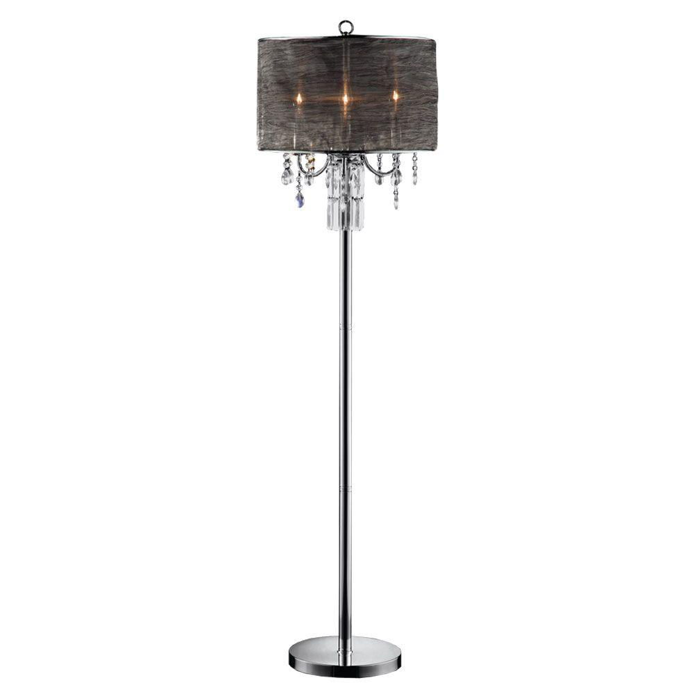 Ok lighting 62 in silver classy crystal floor lamp ok for Homebase chandelier floor lamp