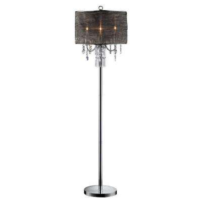 62 in. Silver Classy Crystal Floor Lamp
