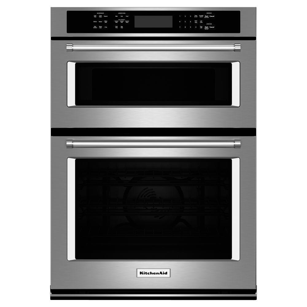 Electric Even Heat True Convection Wall Oven With Built In Microwave Stainless Steel Koce500ess The Home Depot