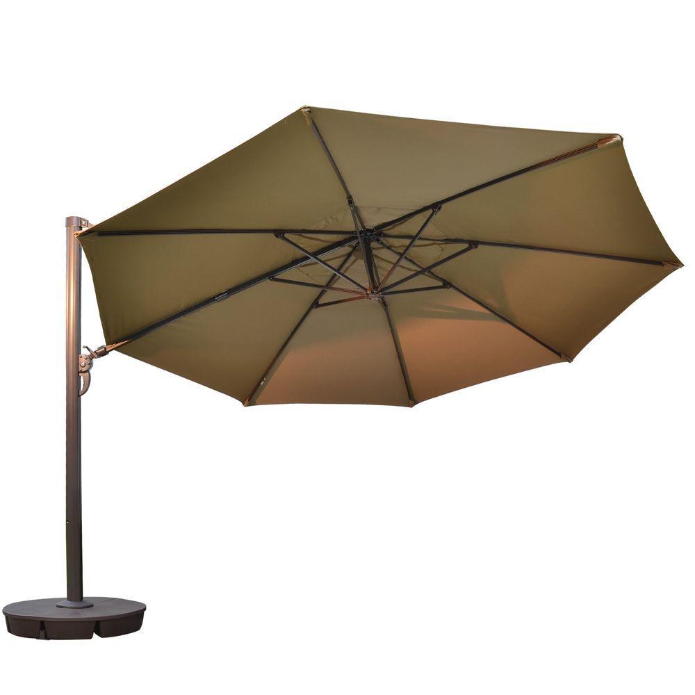 Victoria 13 ft. Octagonal Cantilever Patio Umbrella in Stone Sunbrella Acrylic