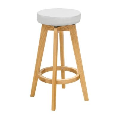 Rex 26 in. White Natural Wood Modern Counter Stool