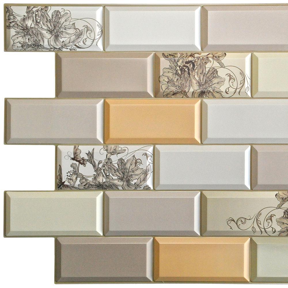 3D Falkirk Retro 10/1000 in. x 38 in. x 19 in. White Beige Green Orange Faux Bricks Flowers PVC Wall Panel