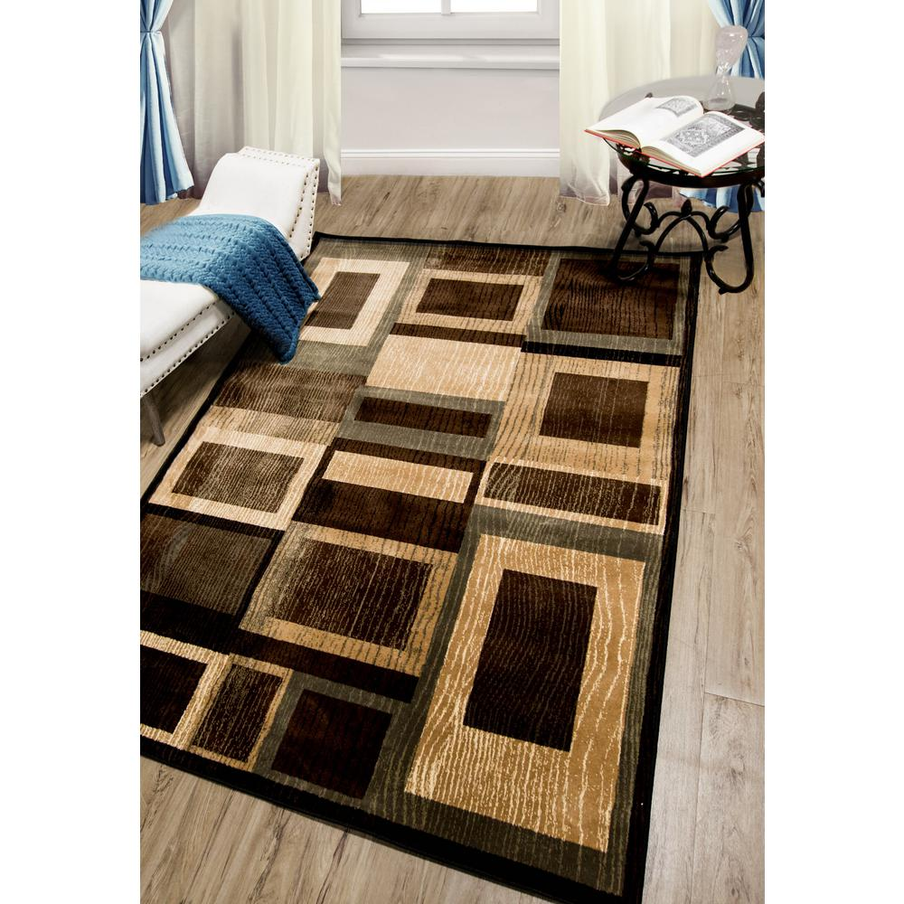 Home Dynamix Bazaar Gal Black/Brown 5 ft. 2 in. x 7 ft. 2 in. Indoor Area Rug