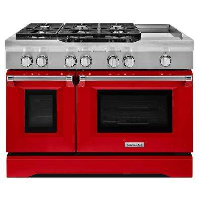 6.3 cu. ft. Double Oven Dual Fuel Commercial-Style Range with Griddle in Signature Red