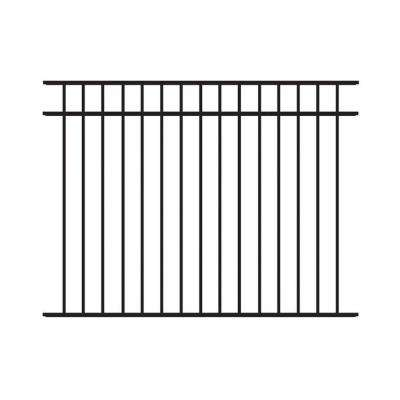 Natural Reflections Standard-Duty 4-1/2 ft. H x 6 ft. W Black Aluminum Pre-Assembled Fence Panel