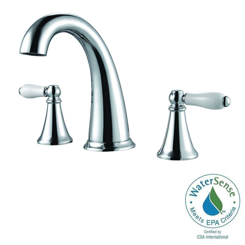 Pfister Kaylon 8 In Widespread 2 Handle High Arc Bathroom Faucet In Polished Chrome And Ceramic