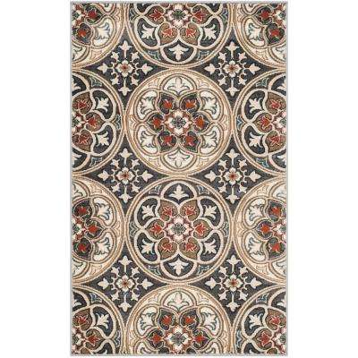 Lyndhurst Light Gray/Coral 3 ft. x 5 ft. Area Rug