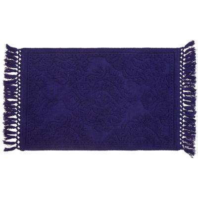 Ricardo Cotton Fringe 27 in. x 45 in. Bath Rug in Indigo