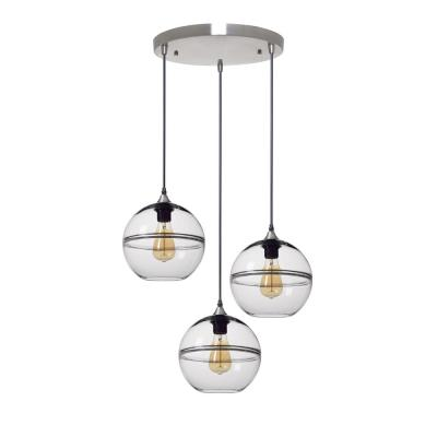 Unique Optic Contemporary 9 in. H 3-Light Silver DoubleEyelid Hand Blown Glass Chandelier with Clear Glass Shades