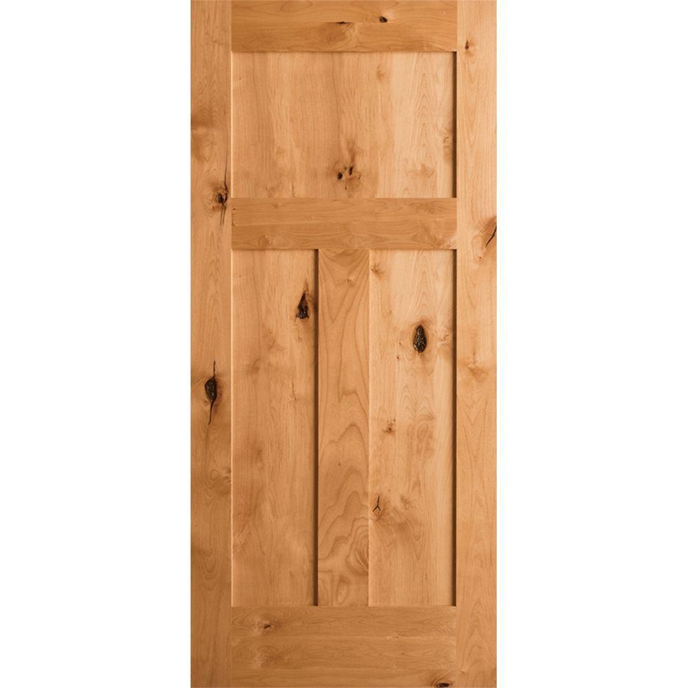 Krosswood Craftsman Rustic Knotty Alder 3-Panel Shaker Solid Core Prehung Interior Door