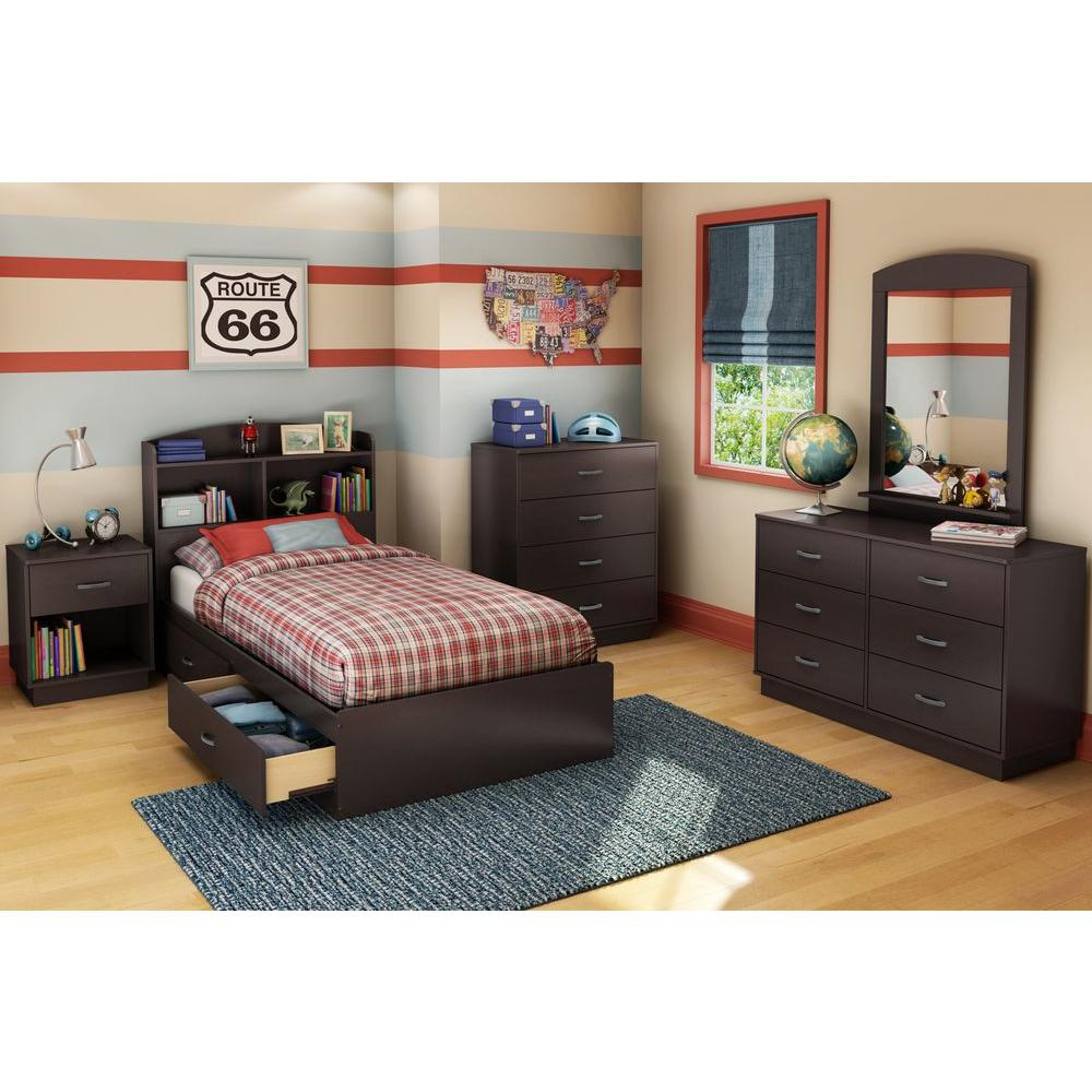 South Shore Logik Twin Size Bookcase Headboard In Chocolate 3359098