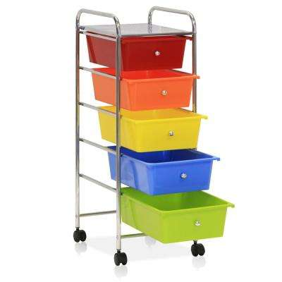 Wayar 5-shelf Chrome 4-Wheeled 5-Drawer Trolley in Rainbow